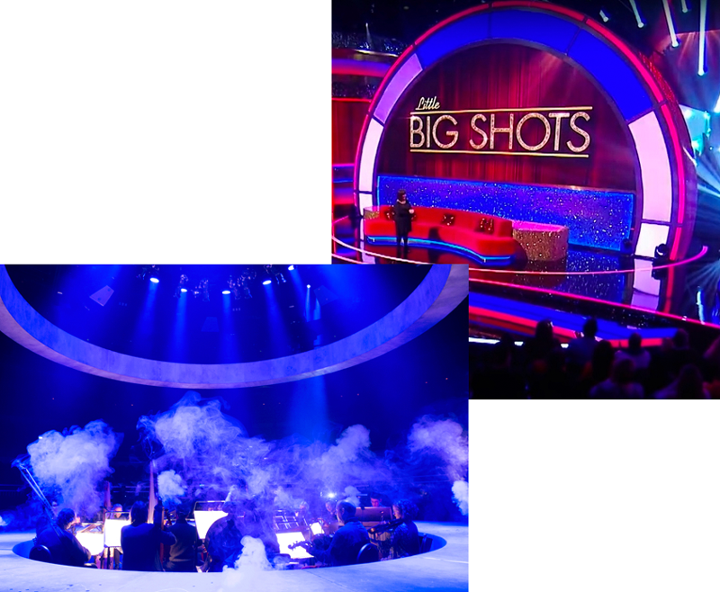 Overlapping Images of Revolving Stage being showcased on tv