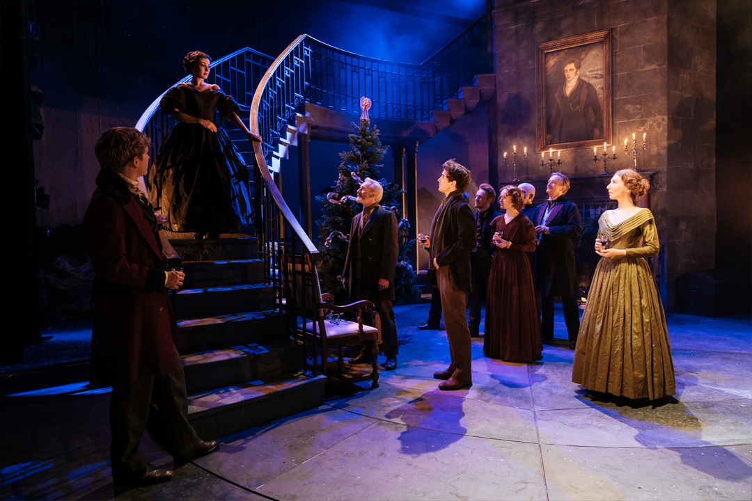 My cousin Rachel tour - revolving stage company provides 8m stage for a play. New images shows group of actors standing on stage for performance.